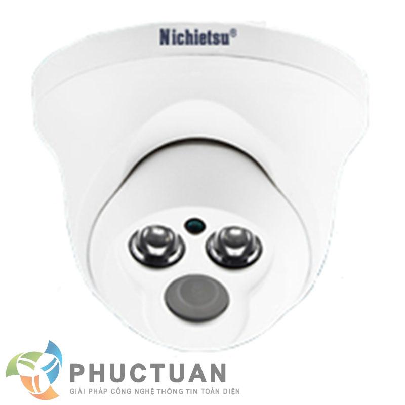 Camera Nichietsu-HD NC-104A1M Camera AHD dome vỏ nhựa trong nhà quan sát ngày đêm - Chip 1/4 OV9712 sensor, độ nhạy sáng: 0.00 Lux (IR on) - Độ phân giải 1.0 Megapixel (1280 x 720 @30fps)  - Khả năng mở rộng chức năng menu điều chỉnh BLC, HSBLC, D-WDR, màu sắc, độ nét, lọc nhiễu 2D/3D DNR - Ống kính 2 Megapixel: 3.6mm (6, 8mm). Nguồn 12V DC - 2 led ray, khoảng cách hồng ngoại 20m