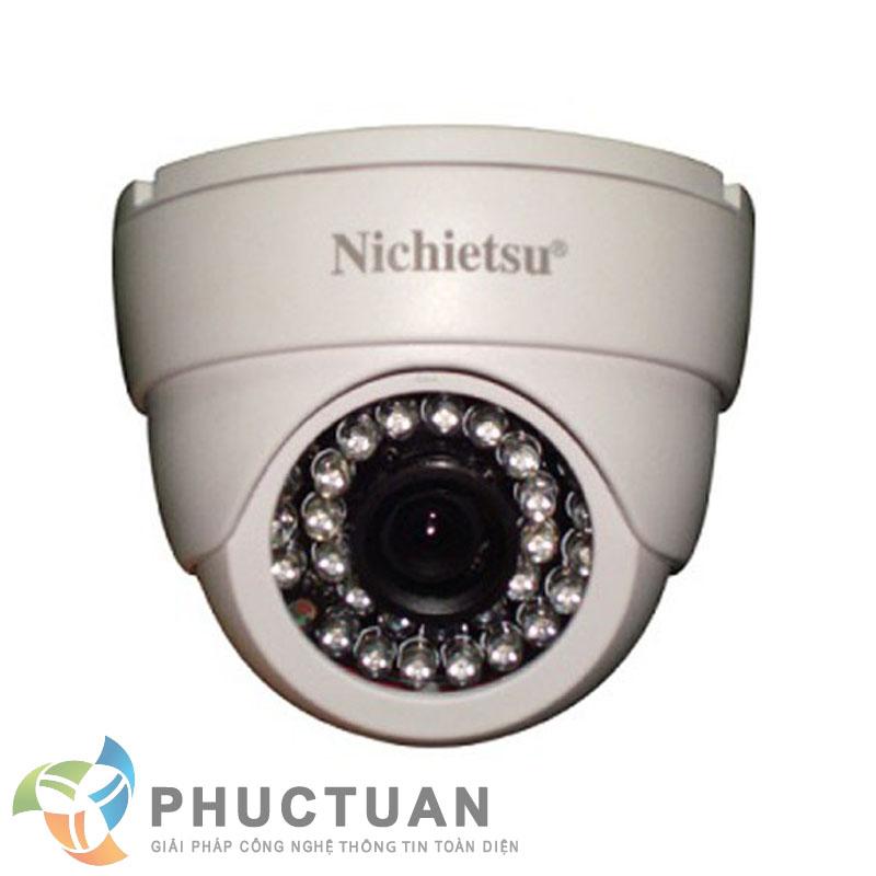 Camera Nichietsu-HD NC-105A1.3M Camera AHD dome vỏ nhựa trong nhà quan sát ngày đêm - Chip 1/3 Sony Exmor sensor, độ nhạy sáng: 0.00 Lux (IR on) - Độ phân giải 1.3 Megapixel HD (1280 x 960 @30fps) - Khả năng mở rộng chức năng menu điều chỉnh BLC, HSBLC, D-WDR, màu sắc, độ nét, lọc nhiễu 2D/3D DNR - Ống kính 2 Megapixel: 3.6mm (6, 8mm). Nguồn 12V DC - 24 đèn led, khoảng cách hồng ngoại 25m