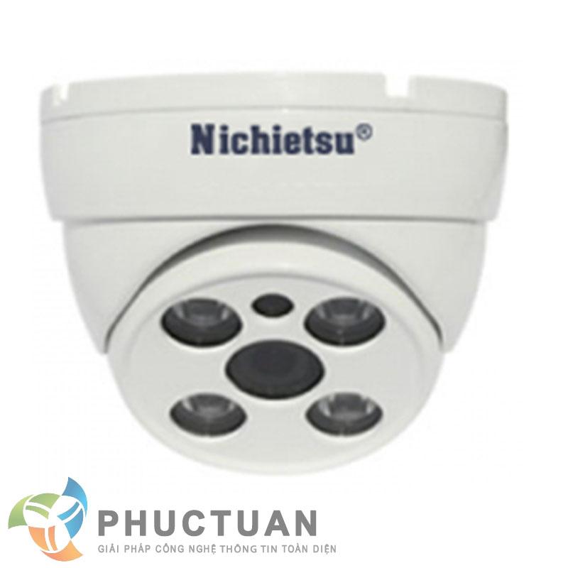 Camera Nichietsu-HD NC-201A1.3M Camera AHD dome vỏ kim loại quan sát ngày đêm trong nhà và ngoài trời - Chip 1/3 Sony Exmor sensor, độ nhạy sáng: 0.00 Lux (IR on) - Độ phân giải 1.3 Megapixel HD (1280 x 960 @30fps) - Khả năng mở rộng chức năng menu điều chỉnh BLC, HSBLC, D-WDR, màu sắc, độ nét, lọc nhiễu 2D/3D DNR - Ống kính 2 Megapixel: 3.6mm (6, 8mm). Nguồn 12V DC - 4 led ray, khoảng cách hồng ngoại 25m