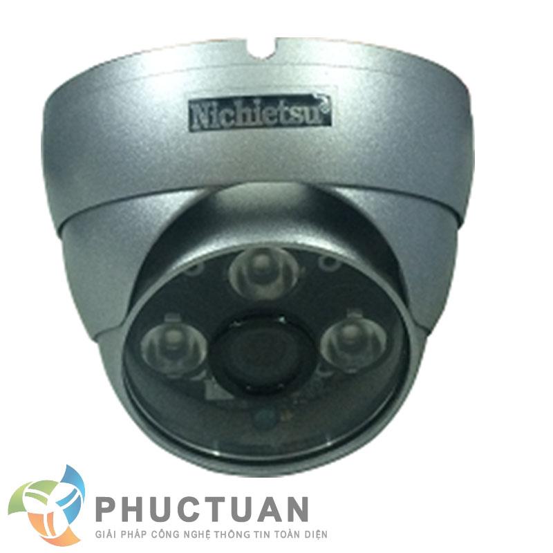 Camera Nichietsu-HD NC-249A1.3M Camera AHD dome vỏ kim loại quan sát ngày đêm trong nhà và ngoài trời - Chip 1/3 Sony Exmor sensor, độ nhạy sáng: 0.00 Lux (IR on) - Độ phân giải 1.3 Megapixel HD (1280 x 960 @30fps) - Khả năng mở rộng chức năng menu điều chỉnh BLC, HSBLC, D-WDR, màu sắc, độ nét, lọc nhiễu 2D/3D DNR - Ống kính 2 Megapixel: 3.6mm (6, 8mm). Nguồn 12V DC - 3 đèn led ray, khoảng cách hồng ngoại 20m - Chuẩn IP65: chống bám bụi, mưa nắng, chống đập phá