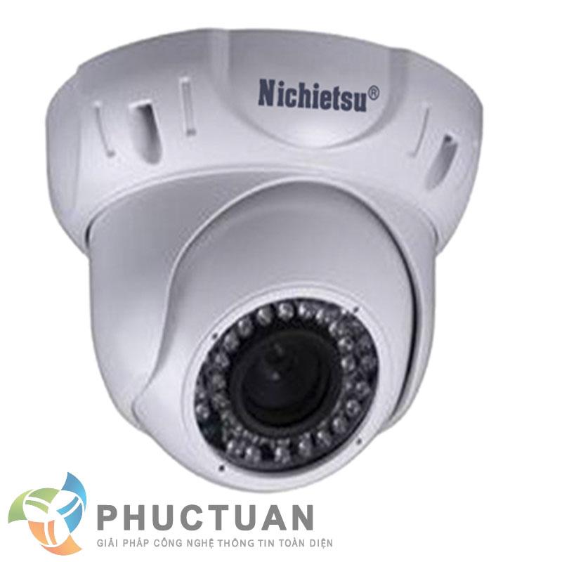 Camera Nichietsu-HD NC-349Z/A2M Camera AHD dome vỏ kim loại quan sát ngày đêm, chống ngược sáng - Chip 1/2.8 Sony Exmor sensor, độ nhạy sáng: 0.00 Lux (IR on) - Độ phân giải 2.0 Megapixel HD (1920 x 1080 @30fps)  - Khả năng mở rộng chức năng menu điều chỉnh BLC, HSBLC, WDR, màu sắc, độ nét, lọc nhiễu 2D/3D DNR - Ống kính 3 Megapixel điều chỉnh 2.8mm - 12mm - 36 đèn led, khoảng cách hồng ngoại 30m - Chuẩn IP65: chống bám bụi, mưa nắng, chống đập phá