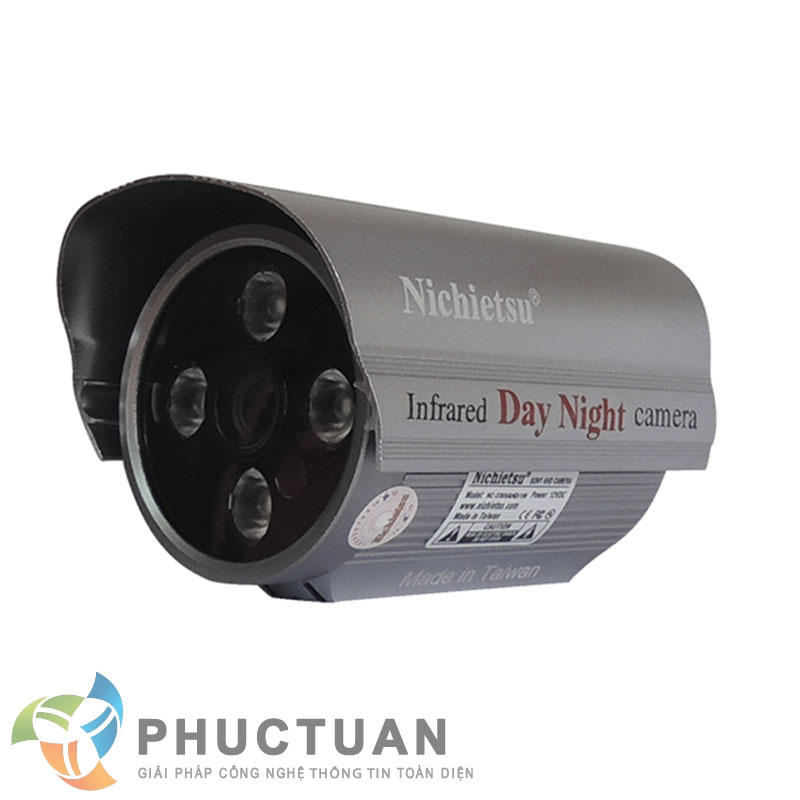 Camera Nichietsu-HD NC-3305A1.3M Camera AHD thân vỏ kim loại quan sát ngày đêm trong nhà và ngoài trời - Chip 1/3 Sony Exmor sensor, độ nhạy sáng: 0.00 Lux (IR on) - Độ phân giải 1.3 Megapixel HD (1280 x 960 @30fps) - Khả năng mở rộng chức năng menu điều chỉnh BLC, HSBLC, D-WDR, màu sắc, độ nét, lọc nhiễu 2D/3D DNR - Ống kính 2 Megapixel: 3.6mm (6, 8mm). Nguồn 12V DC - 4 led ray, khoảng cách hồng ngoại 30m - Chuẩn IP65: chống bám bụi, mưa nắng, chống đập phá