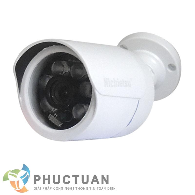 Camera Nichietsu-HD NC-63A2M Camera AHD thân vỏ kim loại quan sát ngày đêm trong nhà và ngoài trời - Chip 1/2.8 Sony Exmor sensor, độ nhạy sáng: 0.00 Lux (IR on) - Độ phân giải 2.0 Megapixel HD (1920 x 1080 @30fps)  - Khả năng mở rộng chức năng menu điều chỉnh BLC, HSBLC, WDR, màu sắc, độ nét, lọc nhiễu 2D/3D DNR - Ống kính 3 Megapixel: 3.6mm (6, 8mm). Nguồn 12V DC - 6 led ray, khoảng cách hồng ngoại 25m - Chuẩn IP65: chống bám bụi, mưa nắng, chống đập phá