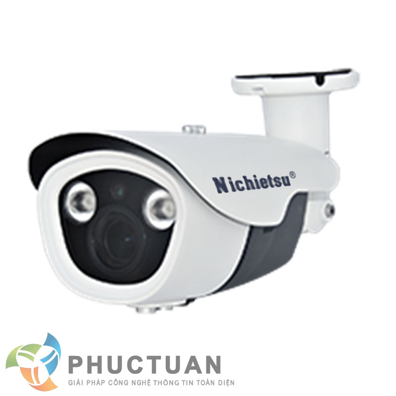 Camera Nichietsu-HD NC-145Z/A1.3 M Camera AHD thân vỏ kim loại quan sát ngày đêm trong nhà và ngoài trời - Chip 1/3 Sony Exmor sensor, độ nhạy sáng: 0.00 Lux (IR on) - Độ phân giải 1.3 Megapixel HD (1280 x 960 @30fps) - Khả năng mở rộng chức năng menu điều chỉnh BLC, HSBLC, D-WDR, màu sắc, độ nét, lọc nhiễu 2D/3D DNR - Ống kính 2 Megapixel điều chỉnh 2.8mm - 12mm - 2 led ray, khoảng cách hồng ngoại 35m - Chuẩn IP65: chống bám bụi, mưa nắng, chống đập phá
